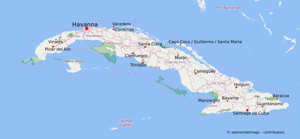kuba karte Kuba Karte und Sehenswürdigkeiten   Kuba Reisen kuba karte